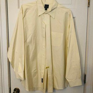 Jos A Bank Mens Yellow/White Pinstripe Dress Shirt